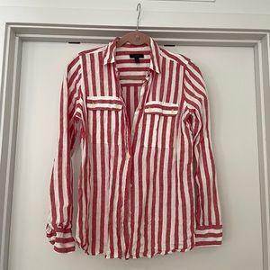100% linen striped button down